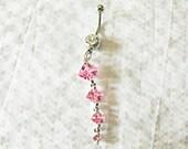 Belly Ring,    Pink Topez Gemstone  Womens Gift Handmade