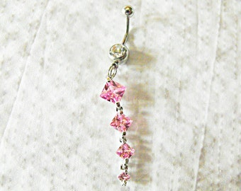 Belly Ring,    Pink Topez Gemstone  Womens Gift Handmade