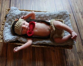 SALE - Newborn baby Newsboy cap and diaper set Photography Prop (color chart inside)