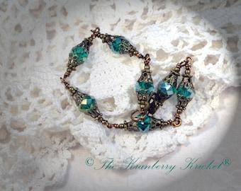 Blue Zircon Brass Bracelet, Crystal Bracelet, Dragon Egg Bracelet, Teal Crystal Bracelet