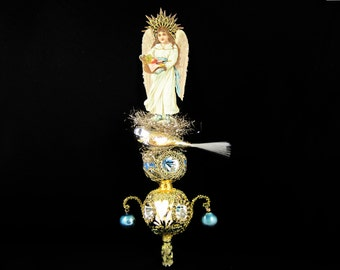 victorian christmas tree topper, angel topper, victorian topper, christmas topper, topper with angel - FOREST ANGEL