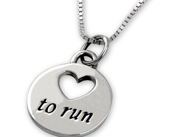 Sterling Silver Love To Run Necklace - [tr-08902]