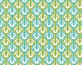 LAMINATED cotton fabric by the yard - Geometric Teal Halle Rose yardage (aka oilcloth, coated vinyl)