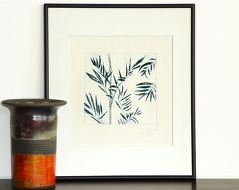 Original Etching Print BAMBOO LEAVES Tree Asian Aquatint Printmaking Fine Art Wall Decor Botanical Print 10x10