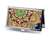 Celestial Starburst Business Card Case, Retro Cobalt Blue and Gold Credit Card Case, Slim Metal Wallet, Office Accesory Gift for Executive