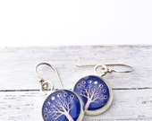 Silver Tree and Moon Earrings / Moon Phases / Purple Earrings