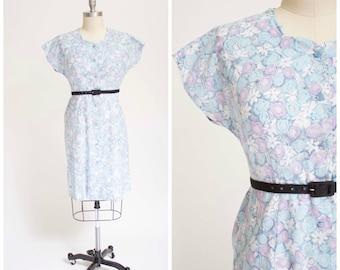 Vintage 1950s Dress • Jubilant Violets • Blue Floral Print Cotton 50s Vintage Day Dress Size Xlarge