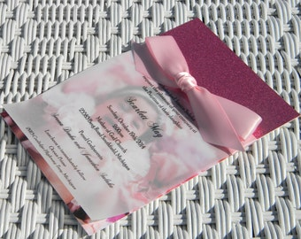 Pink Bling Baptism Invitation with matte white card stock and vellum overlay with pink satin ribbon