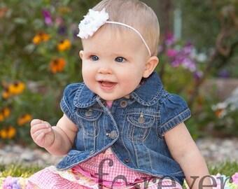 Single shabby headband, you choose color, petite baby headband, infant headband, newborn headband, cute baby headband