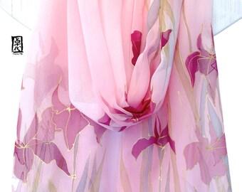 Silk bridal shawl, Hand painted silk shawl, scarf for wife, Pink Japanese Iris Silk Wrap, Silk Chiffon, 22x90 inches. Made to order