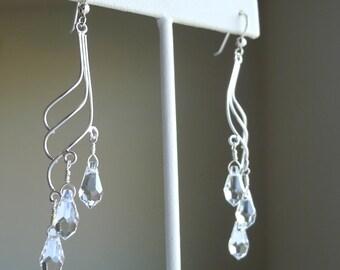 Crystal Clear Teardrops Angel Wings Sterling Silver Swarovski Elements Earrings, Crystal Teardrop Pendants Bridal Bridesmaids Weddings
