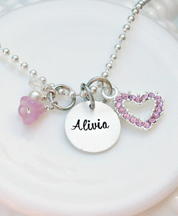 Hand Stamped Necklace - Personalized Jewelry - Girls Charm Necklace - Rhinestone Heart Necklace - Personalized Girls Necklace