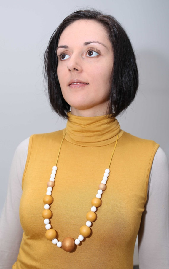 Mustard yellow and white wood necklace light nude by for Mustard colored costume jewelry