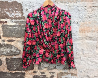 SALE! WAS 14.00 - vintage St Michael black crossover shirt with bright red floral print