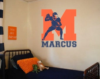 """Football Wall Decal with Initial and Personalized Name - 33"""" Tall x 23"""" Wide"""
