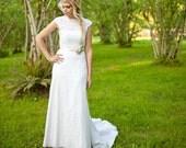 Lace Wedding Dress, sweetheart Lace Illusion Neckline, Low Back Cap Sleeve Wedding Dress, Boho Wedding Dress, Rustic Wedding Vegan wedding