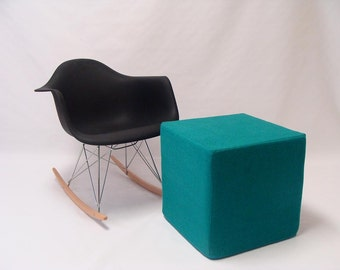 Pouf/ Ottoman / Minimalistic /Teal /Modern Floor Pouf /Additinal Sturdy Seating/ Unique Side table/ Foot Stool /Zigzag Studio Design