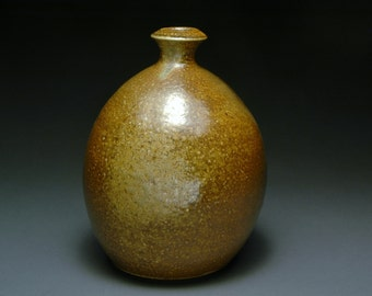 Shiny Brown Wood Fired Bottle or Vase with Subtle Flashing and Ash Collection