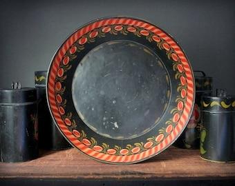 Toleware bowl, hand painted folk art bowl,  black metal bowl