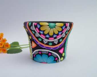 Votive Candle Holder, polymer clay flower mandala decorated glass candle container
