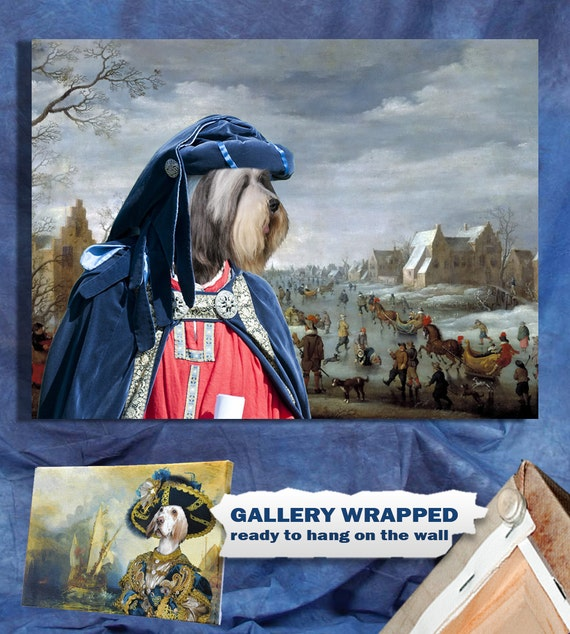 Bearded Collie Art - CANVAS  Print - Fine Artwork - Dog Portrait -  Dog Painting - Dog Art - Dog Print – Custom Dog Art By Nobility Dogs