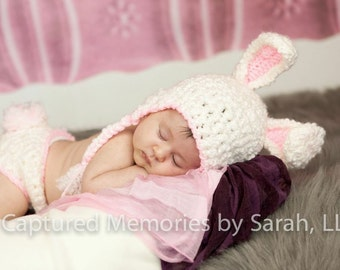 Bunny hat, bunny ears hat and diaper cover set in white fleece with pink trim: available in multiple sizes. Made to order.