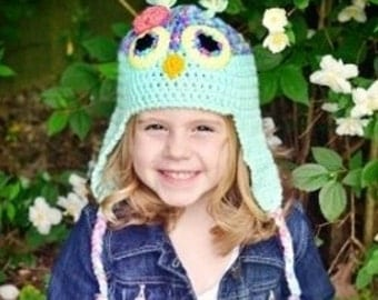 Owl Hat, teal owl hat for babies or children: Newborn through adult sizes available. Made to order.