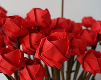 wedding favors-wedding decoration-event promotion-shop decoration-origami rose with natural twigs- 50 stems