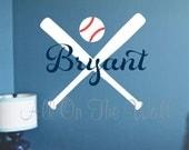 Baseball Wall Decals Sports Name Vinyl Lettering Boys Girls Softball Bedroom Decor Wall Sticker