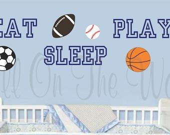 Wall Decals Nursery Sports Decal Baby Boy Wall Sayings Vinyl Lettering Eat Sleep Play Baseball Decals Football Decals Basketball Decals kids