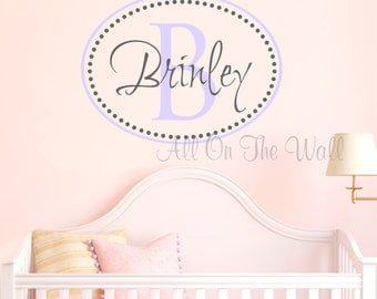 Girl Name Wall Decal Nursery Monogram Decal Oval Dots Vinyl Lettering Custom Wall Sticker Personalized Wall Art Girl Name Decals Vinyl Stick