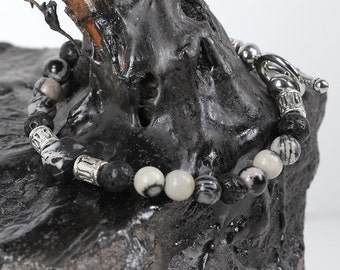 Mens Bracelet Lava Rock Silk Stone and Black Stone with Stainless Steel Toggle Clasp
