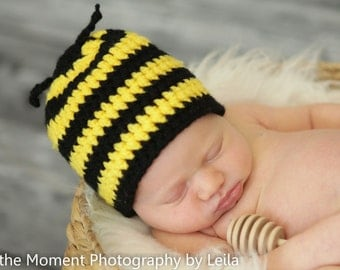 BumbleBee Hat Newborn Photo Prop Baby Boy Girl Striped Yellow Black Crochet Beanie