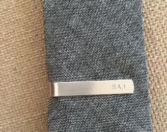 Skinny Tie Clip, Personalized Hand Stamped Gift for Men