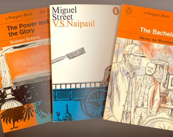 3 Great Vintage Paperback Novels  Power and the Glory by Graham Green, The Bachelors by Henry de Montherland, & Miguel Street by V S Naipaul