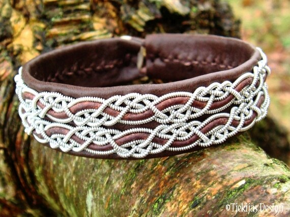 MUNINN Viking Braid Leather Cuff Bracelet in Antique Brown Lapland Reindeer with Antler button - Custom Handcrafted Swedish Sami Jewelry