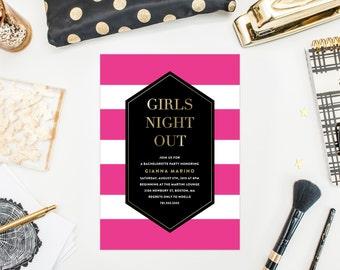 Bold Stripes Bachelorette Party Invitation