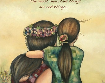 Mother and daughter with flower crown art print