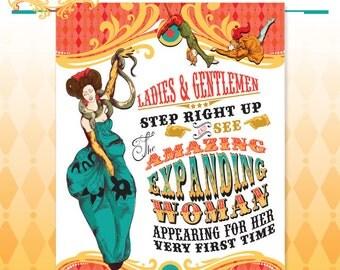 Cirque du Bebe  Baby Shower Poster - Vintage Circus Shower Backdrop Poster Art - Made to Order - Art Print in Original Colors