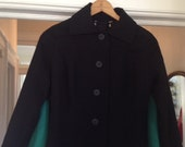 SALE ITEM...Vintage Black And Turquoise Sleeved Cape Wool Suit