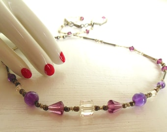 """Vintage Ameythst Sterling Necklace Crystal Purple Silver 18"""" 70's (item 12)"""