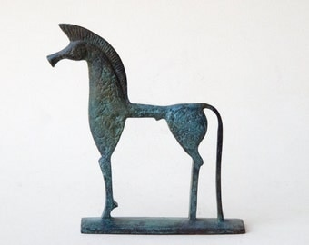 Horse Sculpture, Bronze Ancient Greek Geometric Horse, Solid Bronze Metal Art Sculpture, Greek Art, Art Equine Decor, Equine Lover Gift
