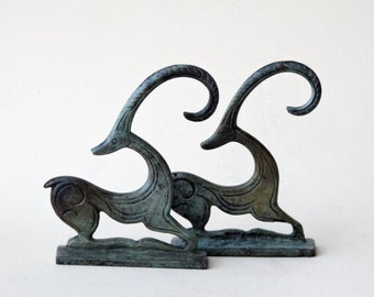 Ibex Bronze Sculpture, Wild Goat, Metal Art Sculpture, Constellation Capricorn, Museum Quality, Geometric Greek Art, Art Decor,Art Gift Idea