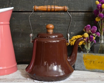 Vintage Brown Enamel Kettle with Wooden Handle Teapot Enamelware Retro Kitchen Decor