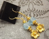 Gold and Blue Flower Czech Glass Earrings