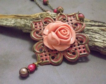 Victorian Pink Carnation on Gunmetal and Brass Filigree Necklace