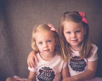 Big Sister DIY Iron on T shirt Transfer Decal - Chalkboard Banner Pink