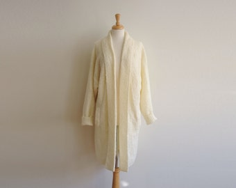 Vintage Christie & Jill Ivory Long Sweater Cardigan, Womens Large / ITEM521