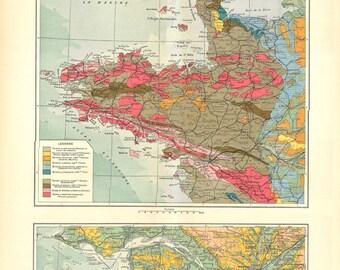 Vintage Map Bretagne France Geology  1930s