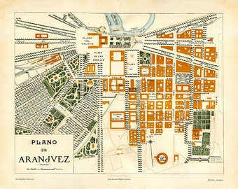 1920s Vintage City Map of Aranjuez, Spain, Street Plan, Art Deco Style